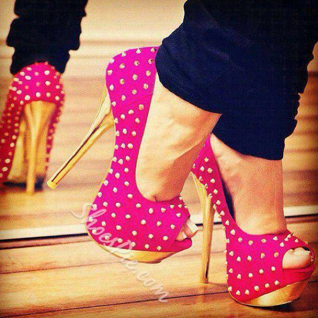 Glaring Rose Rivets Decoration Platform High Heel Shoes- Shoespie.com
