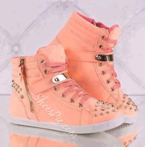 Chic Metal Lace-Up Sneakers With Rivets