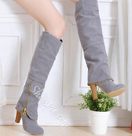 Comfortable Side Zipper Knee High Boots