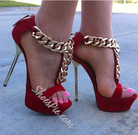 Shoespie Sexy Red Metal Heel Ankle Strap Thick Platform High Heel Sandals