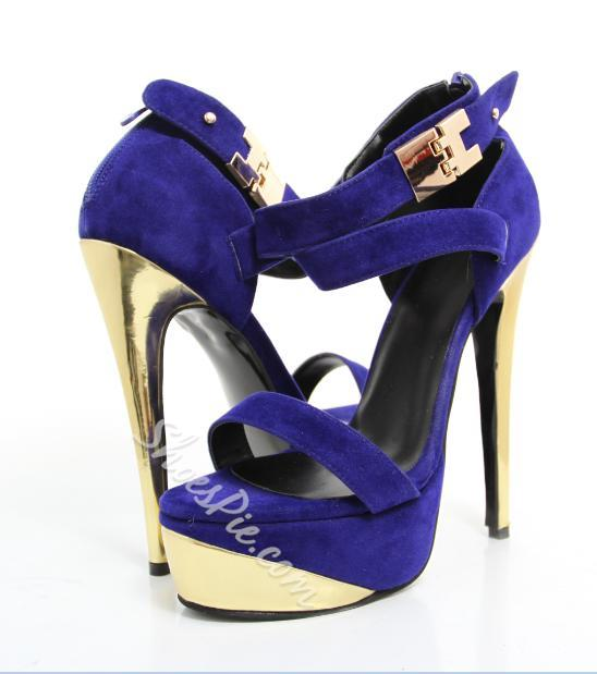 Glaring Metal Heel Platform Ankle Strap High Heel Sandals
