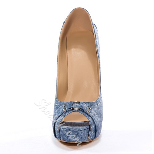 Shoespie Chic Denim Platform Stiletto Heels with Buckle