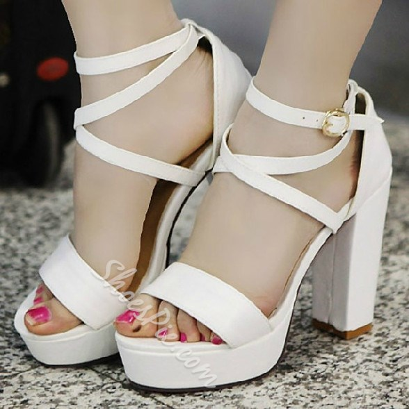 White PU Upper Chunky Heels Platform Women Sandals- Shoespie.com