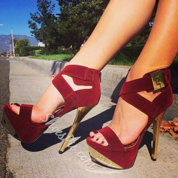 Glaring Metal Heel Platform Ankle Strap High Heel Sandals ...