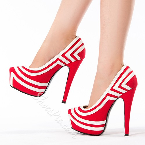 Fashionable Colorful Stripe Platform Stiletto Heels