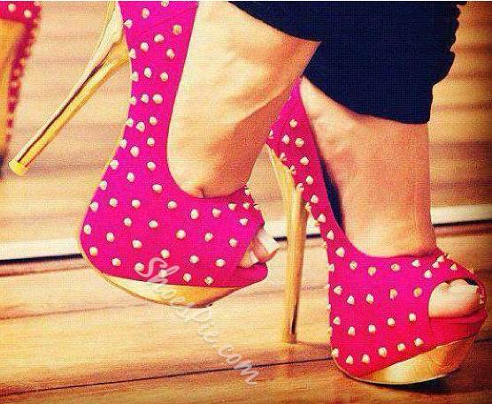 Glaring Rose Rivets Decoration Platform High Heel Shoes