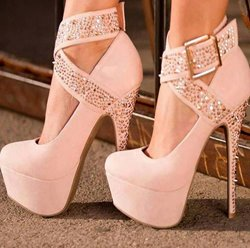 Fashionable Ankle Wrap Platform Heels