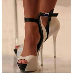 Nude Peep Toe Ankle Strap Stiletto Heel Sandals