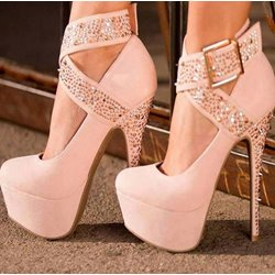 Shoespie Fashionable Ankle Wrap Platform Heels