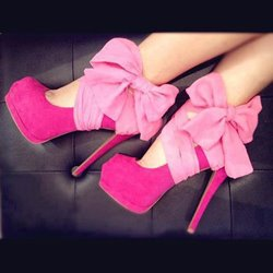 Good-Looking Rose Bowknot Platform Heels