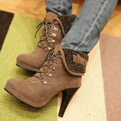 New Arrival Camle Suede Platform High Heel Boots