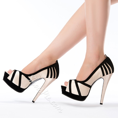Fashionable Contrast Color Platform Peep-toe Stiletto Heels