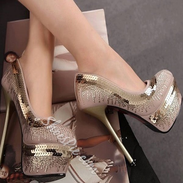 New Arrival Round Toe Glitter Decoration Metal Heel Shoes