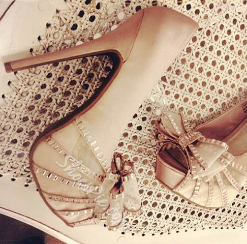 Elegant White Rhinestone Bowtie High Heel Shoes