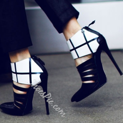Chic Black Contrast Color Pointrd-Toe Stiletto Heels