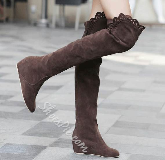 Sweet Suede Wedge Heel Knee High Boots
