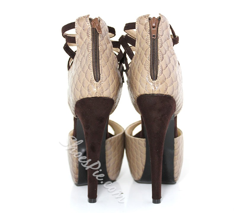 Luxurious Snake Skin Peep-Toe Sandals