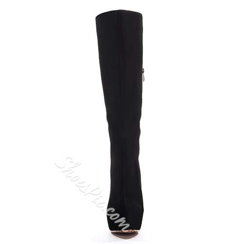 Sexy Black Suede Platform Leopard Grain Sole Knee High Boots
