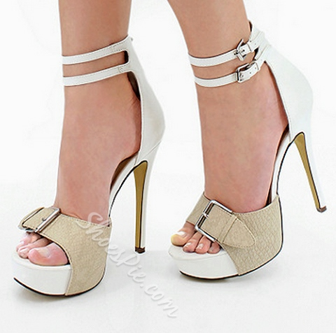 Fashionable White & Camle Contrast Colour Ankle Strap Sandals