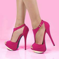 Glaring Suede Ankle Strap Peep Toe High Heel Shoes