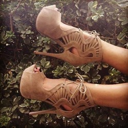 Camel Hollow Peep Toe Lace-Up High Heel Sandals