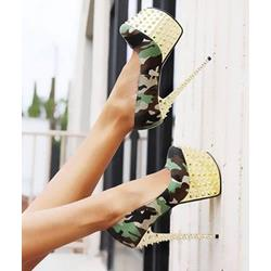 Chic Camouflage Cloth Metal Heel Rivets Decoration High Heel Shoes