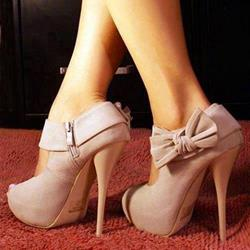 Noble Pink Lovely Bowtie Peep-toe Heels
