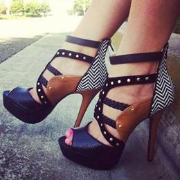 Fashionable Contrast Colour Ankle Strap Rivets Decoration High Heel Sandals