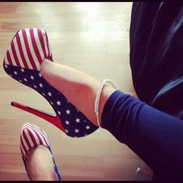 Fashionable Flag Print Platform Heels