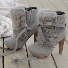 Chic Gray Nubuck Leather Lace-Up High Heel Boot