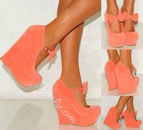 Sweet Girl Wedge Heels With Bowtie