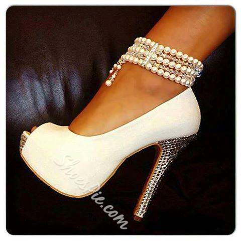 Hot Selling White Pearl Ankle Strap High Heel Shoes