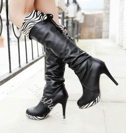 b6bd5328efd2 Fashionable Zebra Print Stiletto Heel Platform Knee High Boots ...