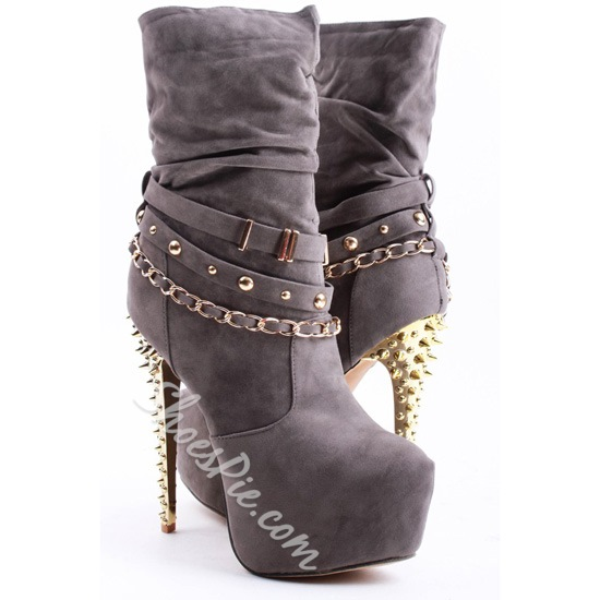 Fancy&Chic Rivet Comfortable Stiletto Heel High Heel Boots With Chains