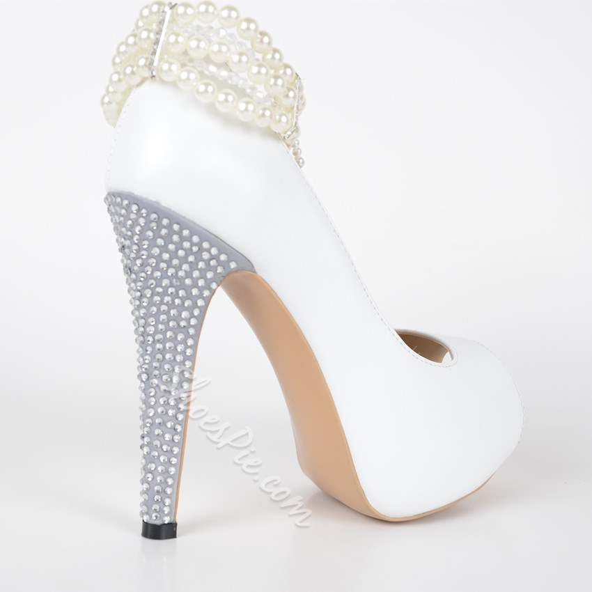 White Pearl Ankle Strap High Stiletto Heels- Shoespie.com