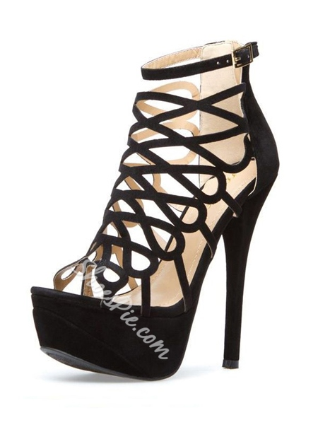 Delicate Black Butterfly Cut-Outs Style Stiletto Heel Peep Toe Sandals