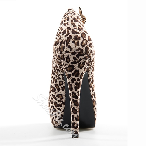 Sexy Leopard Print Stiletto Heel Ankle Strap High Heel Shoes