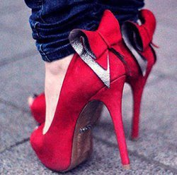 Elegant Red Suede Platform Peep-Toe Heels With Bowtie