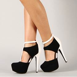 Fashionable Black & White Contrast Colour Cut-Outs High Heel Boots