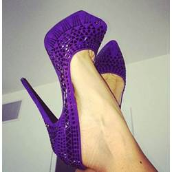 Awesome Purple Laser Out Caged Platform Heels