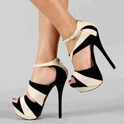 Shoespie Fashionable White & Black Contrast Colour Peep Toe Sandals