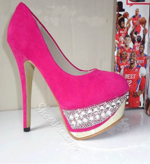 Luxurious Rhinestone Suede Stiletto Heel Platform High Heel Shoes