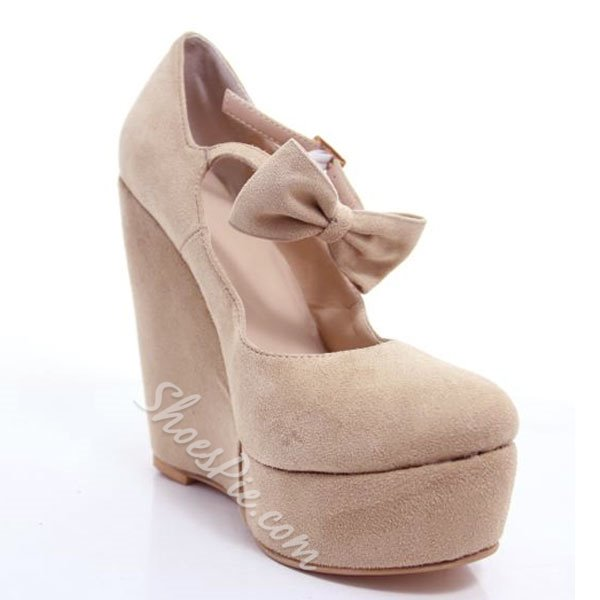 Comfortable Wedge Heel Platform Camel Suede High Heel Shoes