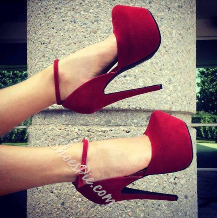 Glaring Red Suede Thick Platform Stiletto Heel High Heel Shoes