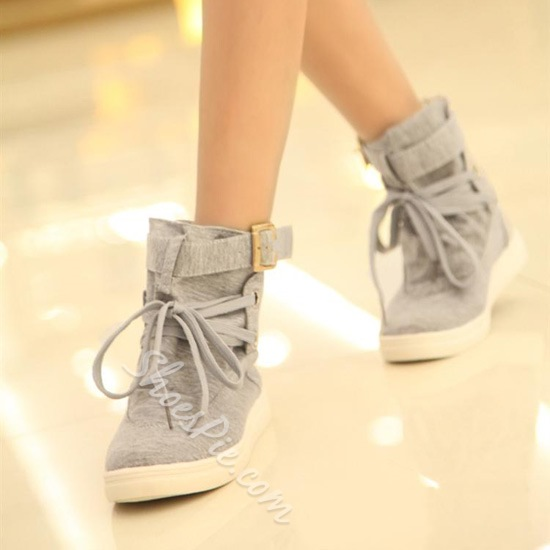 Concise Comfortable High-Top Lace-Up Women Shoes With Buckle