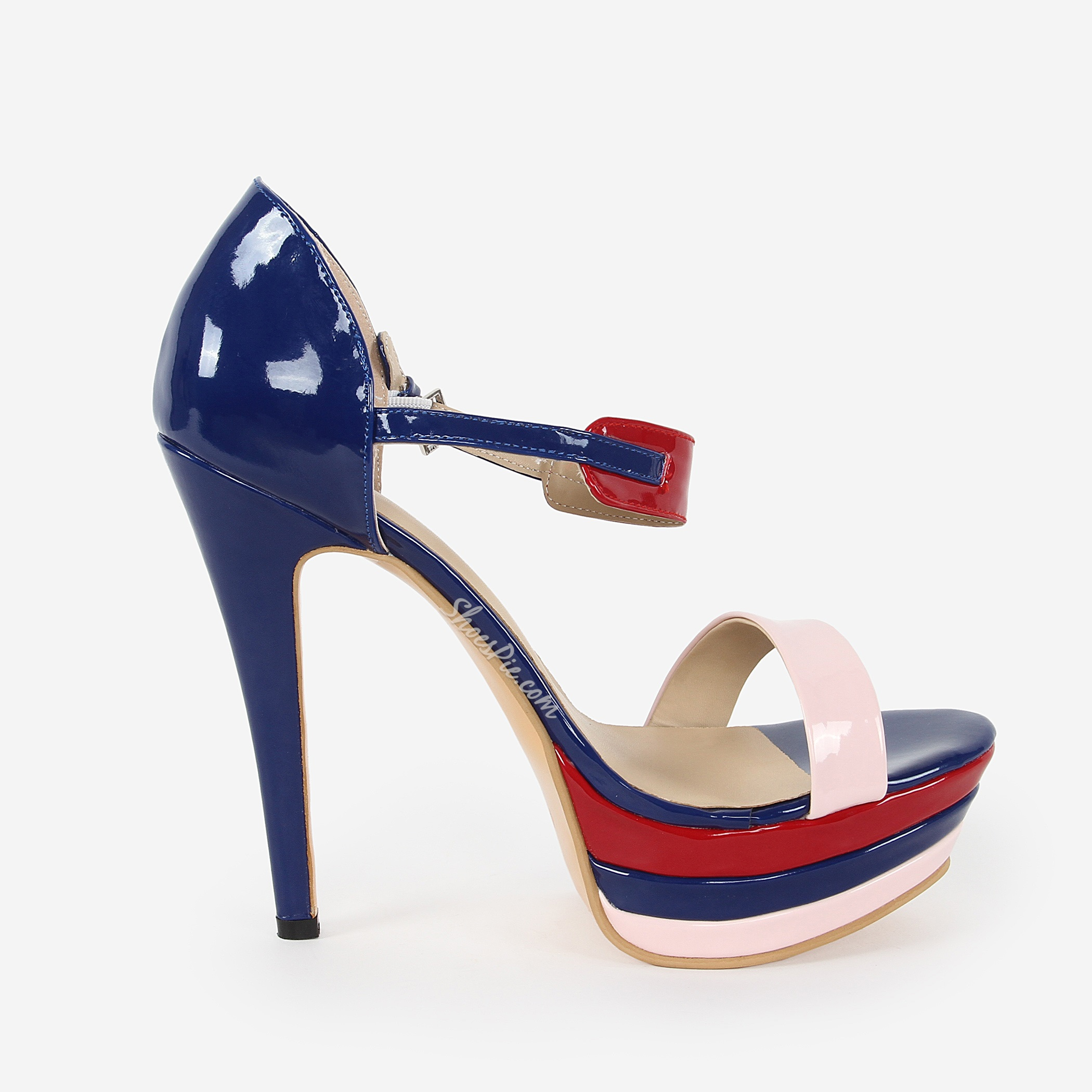 Blue & Pink Contrast Color Peep Toe Dress Sandals