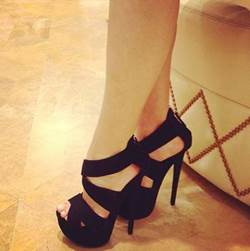 Fashionable Black Suede Peep Toe Ankle Strap High Heel Shoes