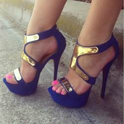 Elegant Contrast Colour Peep Toe Sandals