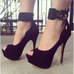 Sexy Black Suede Peep Toe Ankle Strap High Heel Shoes