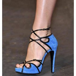 Elegant Blue Peep Toe High Heel Sandals